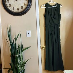 Abercrombie & Fitch green wide pants romper